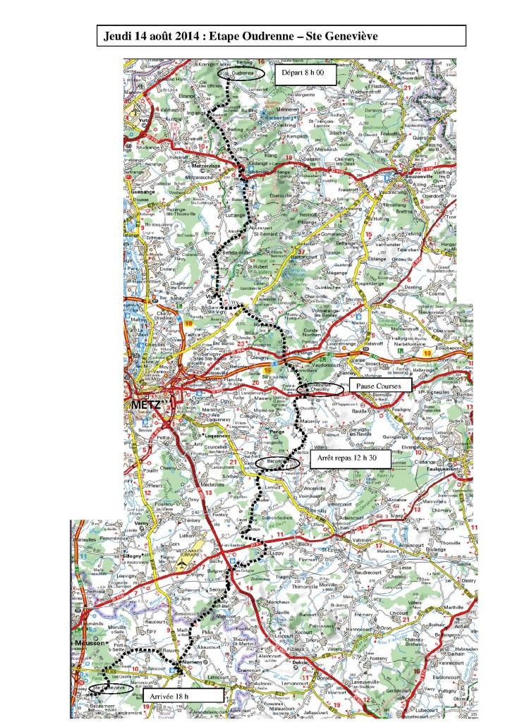 Itinéraire Jeudi 14 août : Oudrenne - Sainte Geneviève